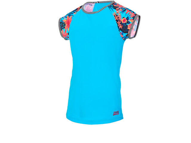 Zoggs Wunderlust Camiseta Protección Solar Manga Corta Niñas, blue/multi
